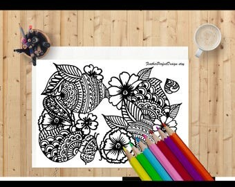 Zen floral design colouring page, adult colouring pages, butterfly motifs, instant download, printable, black and white, illustration