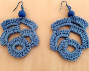 Denim blue irregular shape earringd