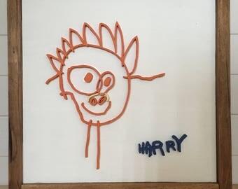 custom wood sign of childrens drawing/handwriting/art