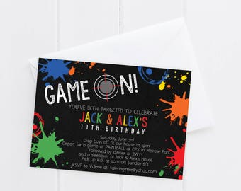 Paintball Birthday Invitation - Paintball Birthday - Paint Ball Birthday Invite - Digital/Printable OR Printed & Shipped!