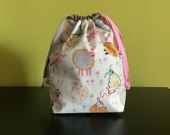 "Handmade Drawstring bag / pouch for knitting accessories 8"" x 5"" x 3.5"" *Knitting Sheep*"
