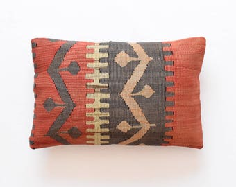 "Kilim rug pillow cover 12""x18"" (30x45cm) 010"