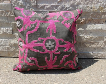"16"" X 16"" Pink Gray Exquisite Vintage Suzani Patchwork Pillow Cover, 1950s High End Upscale Suzani Pillow Cover"