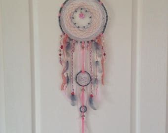 Grey-pink dream catcher and a personalized touch of white dreamcatcher