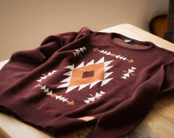 Knitted Navajo Sweater Native Pattern Vintage