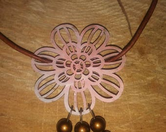 Boho pink and cream pendant necklace.