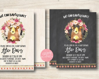 We Can Barely Wait Invitations, Bear Invitation , Cub Baby Showe, Bear Baby Shower Invitations