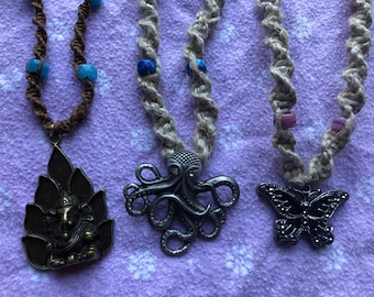 Handmade Pendant Hemp Necklaces