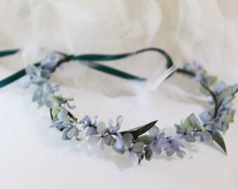 Couronne fleurs stabilisées vertes et bleues Sandrine