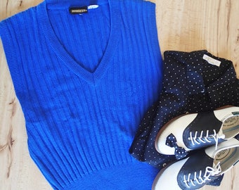 Nuggets vintage knit blue sweater vest