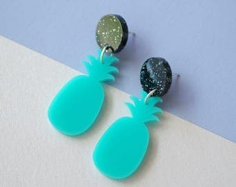 Small Pineapple Dangle Earrings / Tropical / Tiki / Pinup / Kawaii / Retro / Summer / Studs / Drops / Statement
