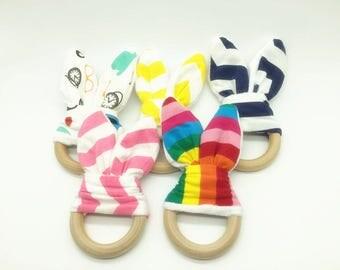 5pcs -Bunny Teether Bunny Ear Teether Teething Ring Safety Wooden Teething For Baby Teether