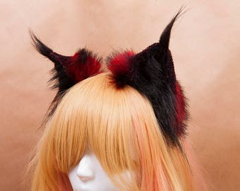 Red and Black Lynx Fur Ears Headband