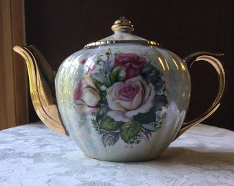 Vintage Royal Sealy Pearl Luster Glaze Teapot with Roses and Gold Trim