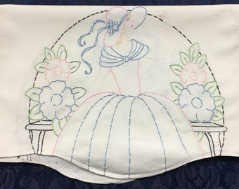 Vintage Linen Hand Embroidered Table Runner with Beautiful Crinoline Lady 42 x 15.5  R58