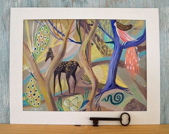 Original painting, dreamy woods, acrylic painting, deer, woods painting, illustration, Sofia Moore