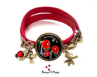 Bronze bracelet poppies ° ° ° ° cabochon red flowers costume jewelry