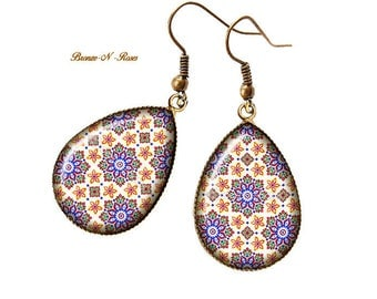 Mosaic oriental jewelry drop earrings Moroccan Christmas gift
