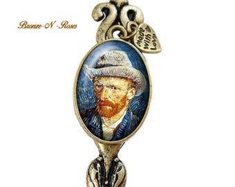 Cut paper letter openers * Vincent Van Gogh * portrait painting Midnight Blue cabochon bronze glass bookmarks