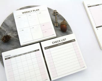 Desk Memo Pad / Small size Planner / Compact size / Desk top, Lap top Planner / 3type[Monthly, Weekly, Check list] / M-01 / 1215857