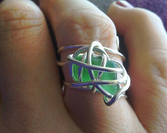 Genuine Natural Green Sea Glass wire wrapped statement ring in silver plate