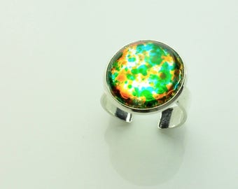 orange green cabochon ring