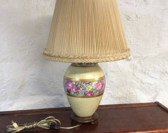 Gold Leaf Peony & Poppy Urn Lamp with Shade