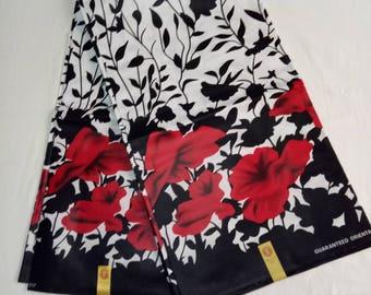 Fabric per yard/African Fabric/African Print Fabric/Red Black and White African Fabric/African Wax Print/Ankara Print/African Clothing/