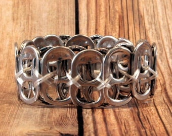Upcycled Soda Can Tab Bracelet - White