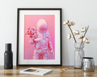Astronaut, Astronaut Art Print, Space Art Print, Space Wall Art, Astronaut Poster, Astronaut Art, Space Poster, Wall Art decor, Pink
