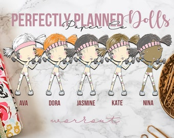 005 | Workout | Planner Dolls // Character Planner Stickers
