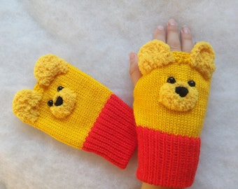 Winnie the Pooh- Fingerless gloves, Free Shipping