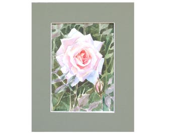 Pink rose watercolor painting blossom painting Pink rose painting watercolor blossom cheap wall decor cheap home decor cheap wall art rose