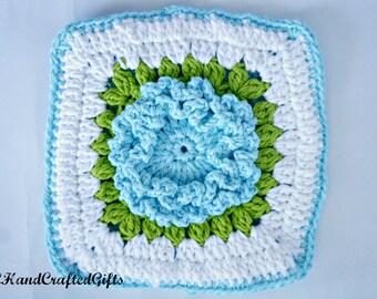 Crochet Hot Pad, Blue Floral Hot Pad, Handmade Hot Pad, Cotton Hot Pad, Handmade Pot Holder, Blue and White Kitchen, Kitchen Decor, Crochet