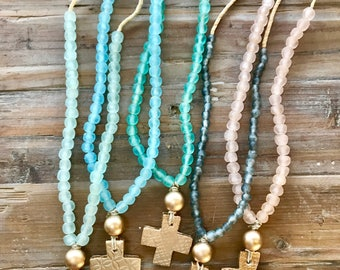 Recycled glass bead necklaces with cross