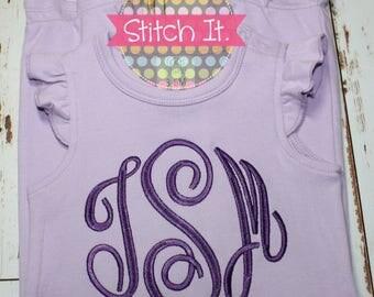 Monogrammed girls lavender angel sleeve romper - Choose colors