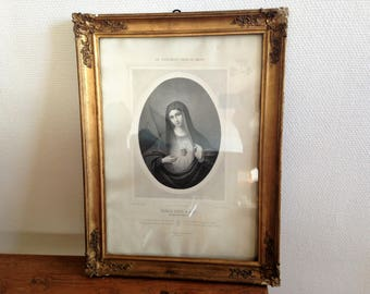 Very old frame - the Holy heart of Mary - wood glass and stucco - 1900