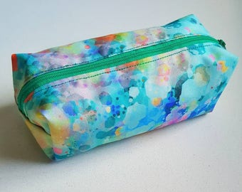 Boxed pouch/ wetbag with waterproof lining and removable wrist strap (not shown)