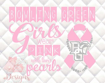 Bowling Green Falcons Pink and Pearls - Breast Cancer Awareness - SVG, Silhouette studio and png bundle