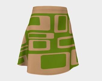 Green, Retro, Skirt, Gift, For Her, Wife Gift, Geometric, Gift, Girlfriend Gift, Mod, A-Line Skirt, Womens Gift, Unique, Gift for Women
