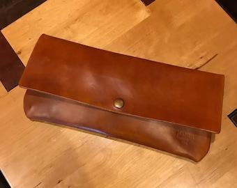 Handmade Genuine Leather Clutch Handbag - Full Grain Leather Bag - Handcrafted Leather Brown Clutch - British Tan