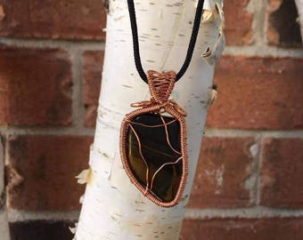 Multi wire wrapped Tiger eye pendant
