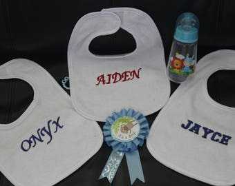 Custom Made/ Personalized Embroidered  -Baby Bibs