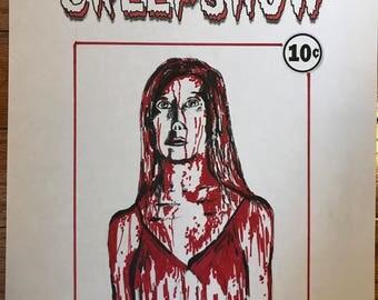 Carrie original drawing under Creepshow logo horror mashup Stephen King