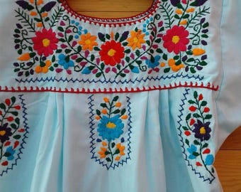 Traditional Mexican hand Embroidered dress size 10