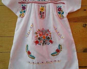 Traditional Mexican hand embroidered dress size 4
