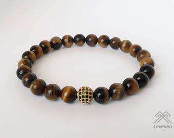 Tigers eye bracelet - Tigers eye beads - Mens bracelet - Beaded bracelet - Tigers eye