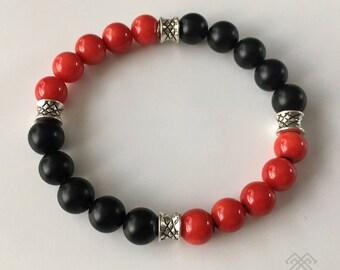 Mens bracelet - Red Coral bracelet - Black Onyx bracelet - Beaded bracelet
