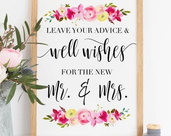 Printable. Leave your advice and well wishes for the new mr & Mrs, Well wishes print, wedding advice print, wedding wishes print, 00L2
