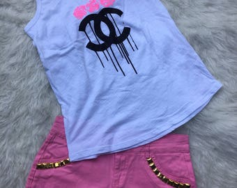Chanel Bling T-shirt, Chanel, Chanel Inspired Bling Shorts, Womens Shorts, Embellished Shorts